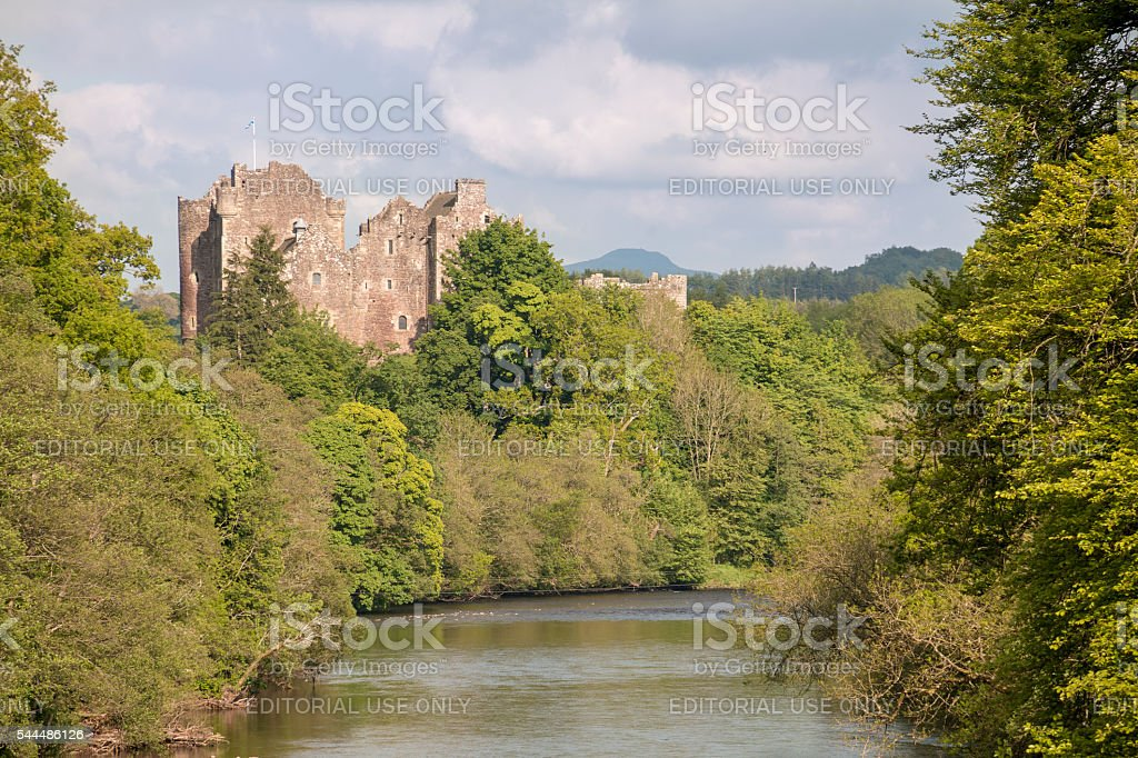 Doune Castle viewed along the River Teith stock photo
