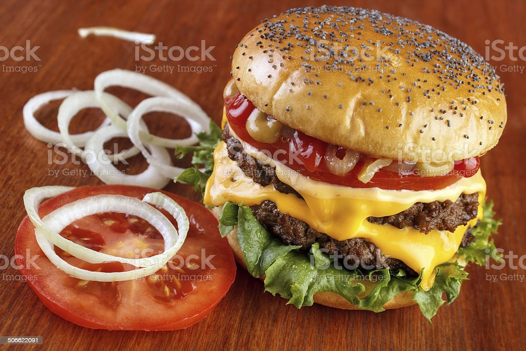 Douple beef burger royalty-free stock photo