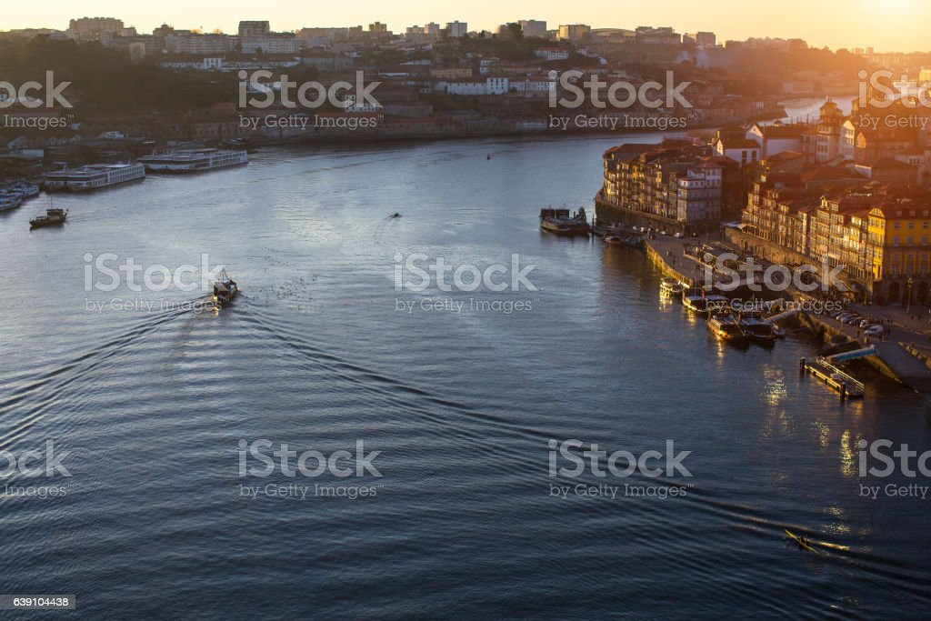 Douro river and Ribeira, Porto, Portugal. stock photo