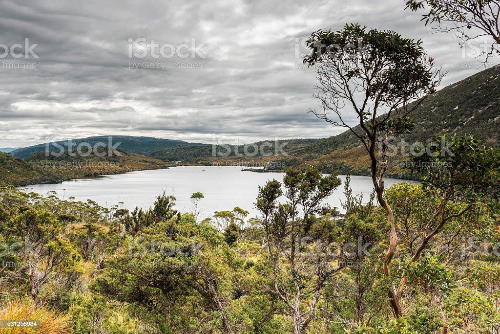 Dove Lake, Cradle Mountain-Lake St Clair National Park, Tasmania, Australia. stock photo