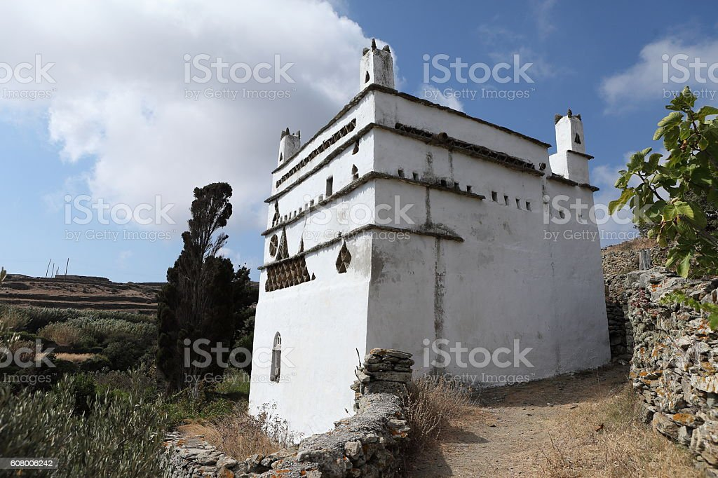 Dovecote on Cycladic islands in Greece stock photo