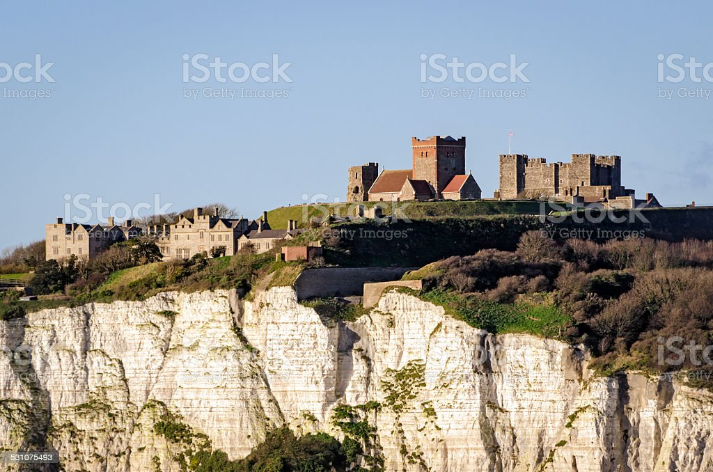 Dover, England, white cliffs and castle stock photo