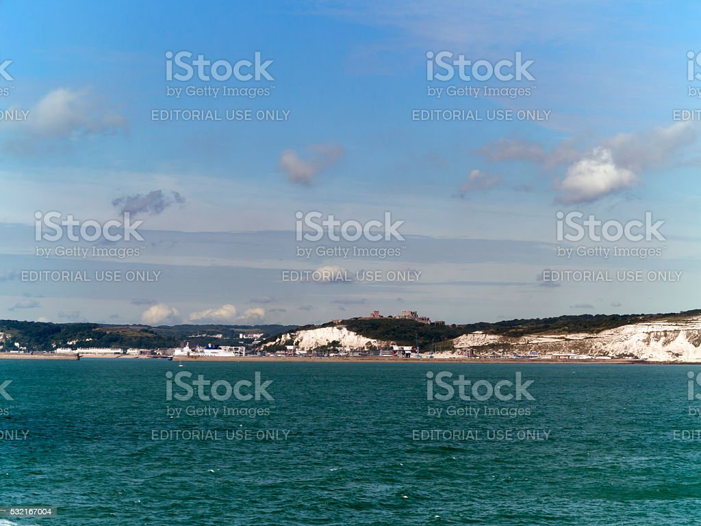 Dover Ferry Port and Dover castle, Kent, UK stock photo