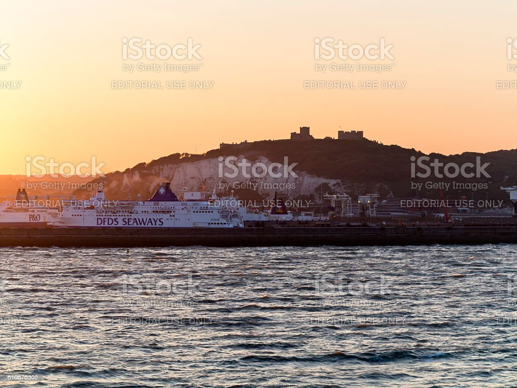 Dover Ferry Port with castle, England stock photo