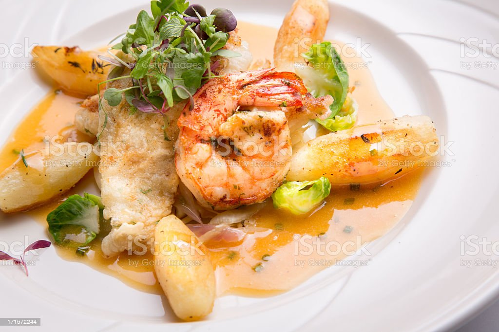 Dover Sole Fillet and Shrimp stock photo