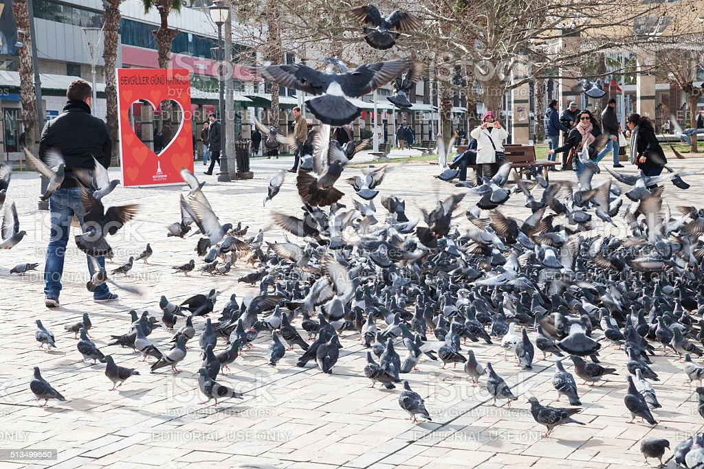 Doves and ordinary people on Konak Square stock photo