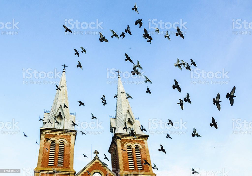 Doves flying across Notre Dame Cathedra bell towers, Vietnam royalty-free stock photo