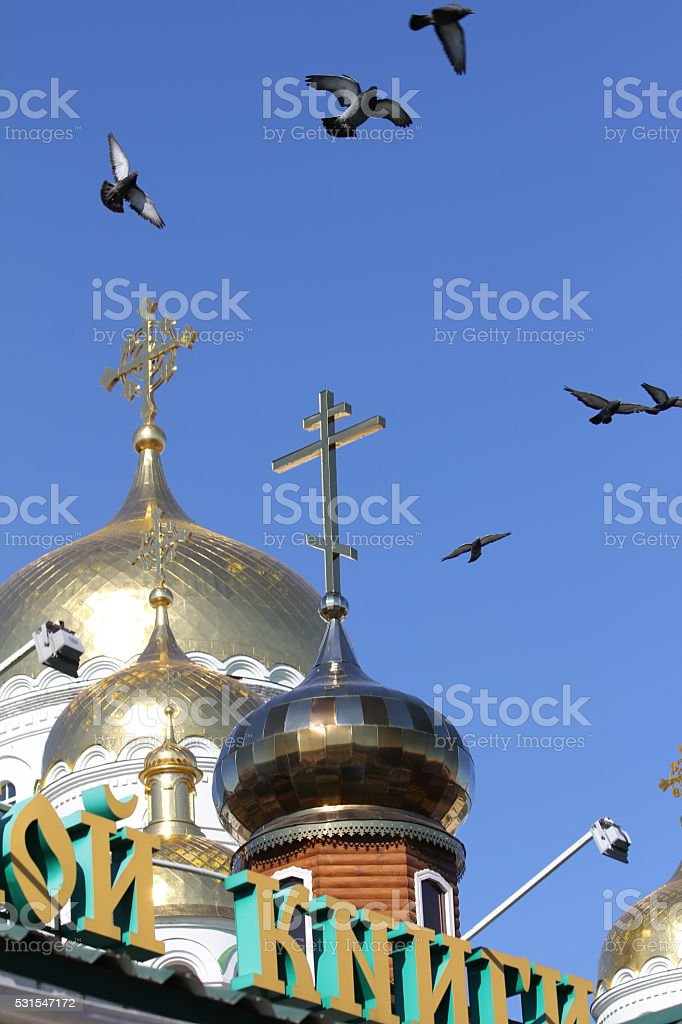Doves over the golden domes stock photo