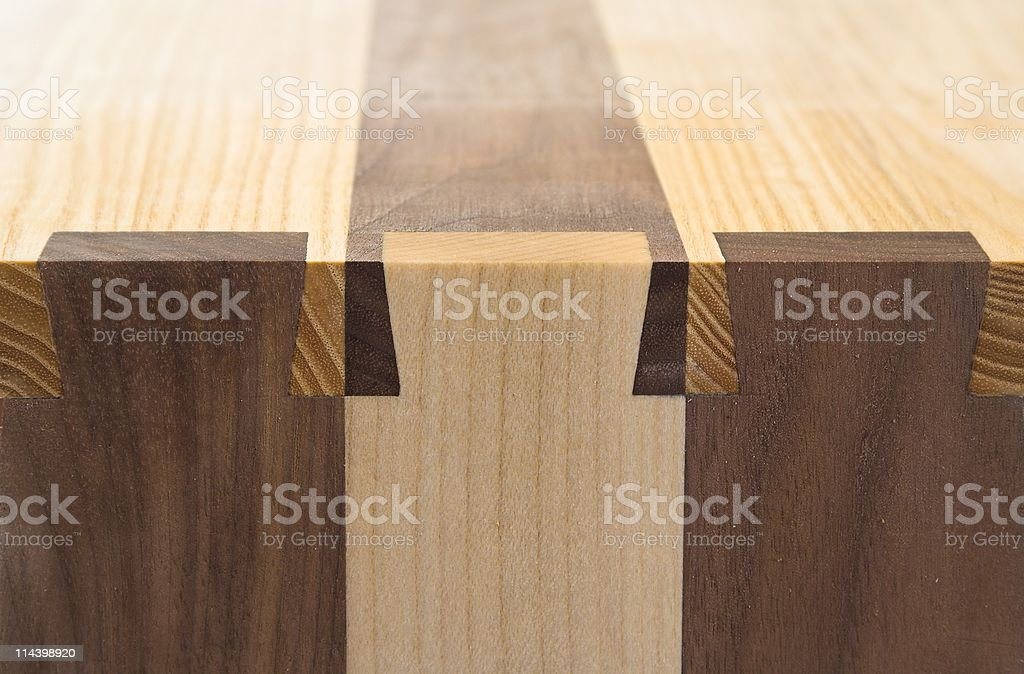 Dovetailed Nicely - Decorative Dovetail Joints In Wood stock photo