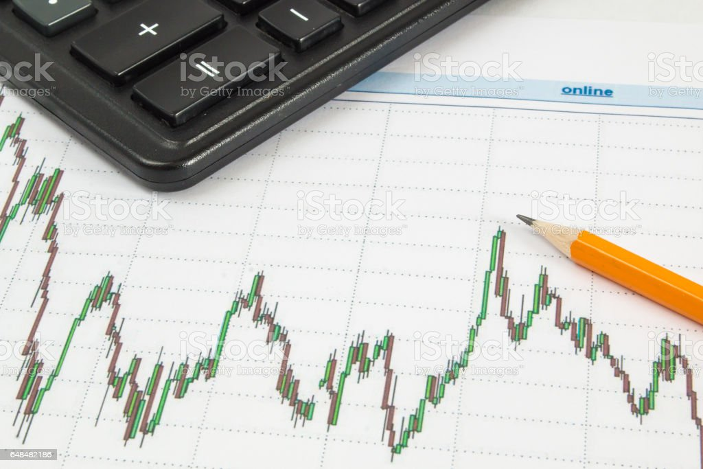 Dow Jones Business chart with calculator and pencil indicates the maximum stock photo