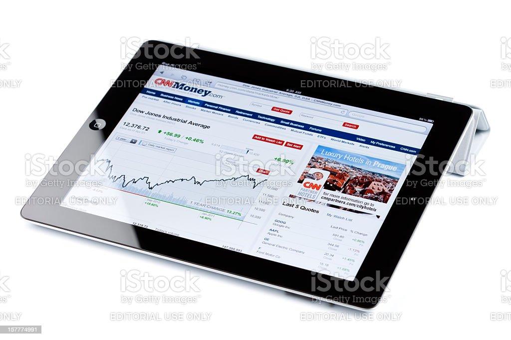 Dow Jones Industrial Average Index chart on iPad2 royalty-free stock photo