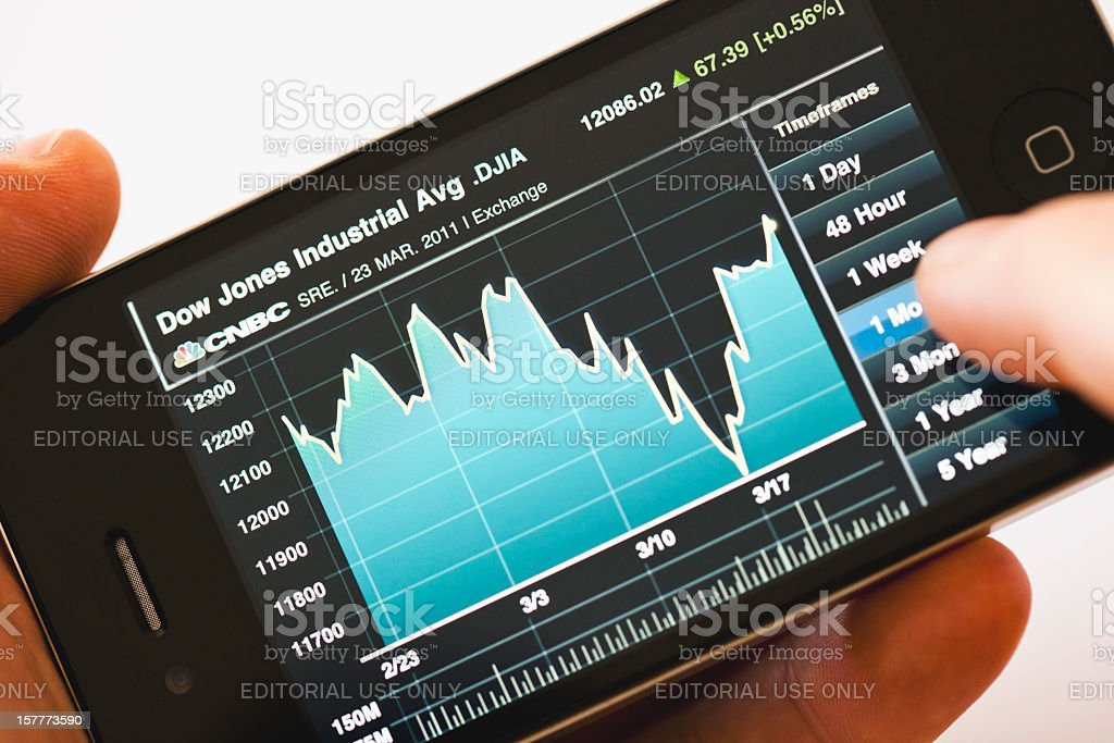 Dow Jones Industrial Average Index graph on iPhone 4 royalty-free stock photo