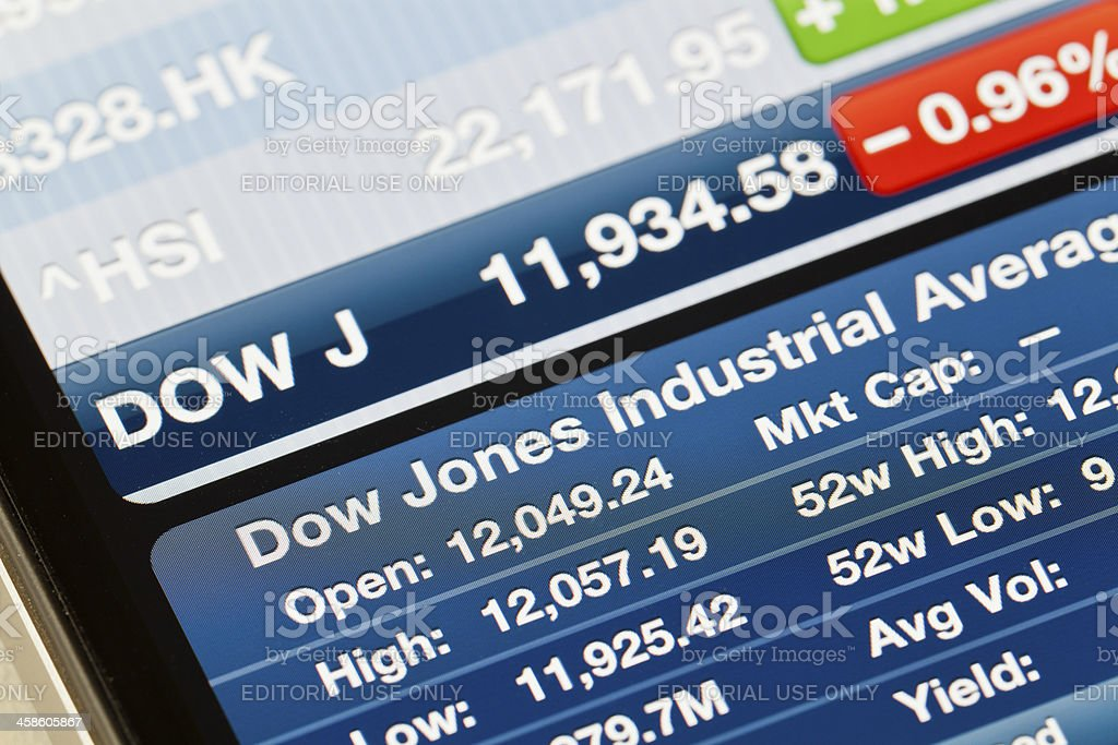 Dow Jones Industrial Average on iPhone 4 Stocks app stock photo