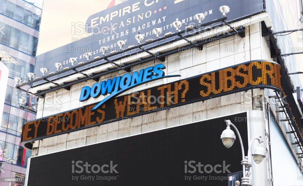 Dow Jones News Ticker New York City stock photo