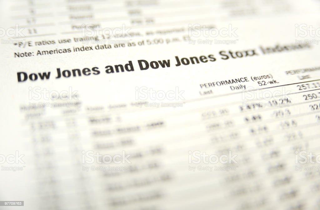 Dow Jones stock indexes stock photo