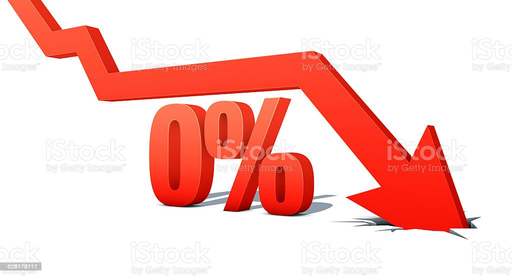 Down Arrow with word: 0% stock photo