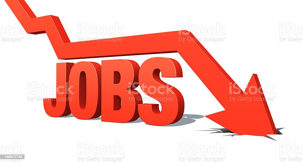 Down Arrow with word: Jobs stock photo