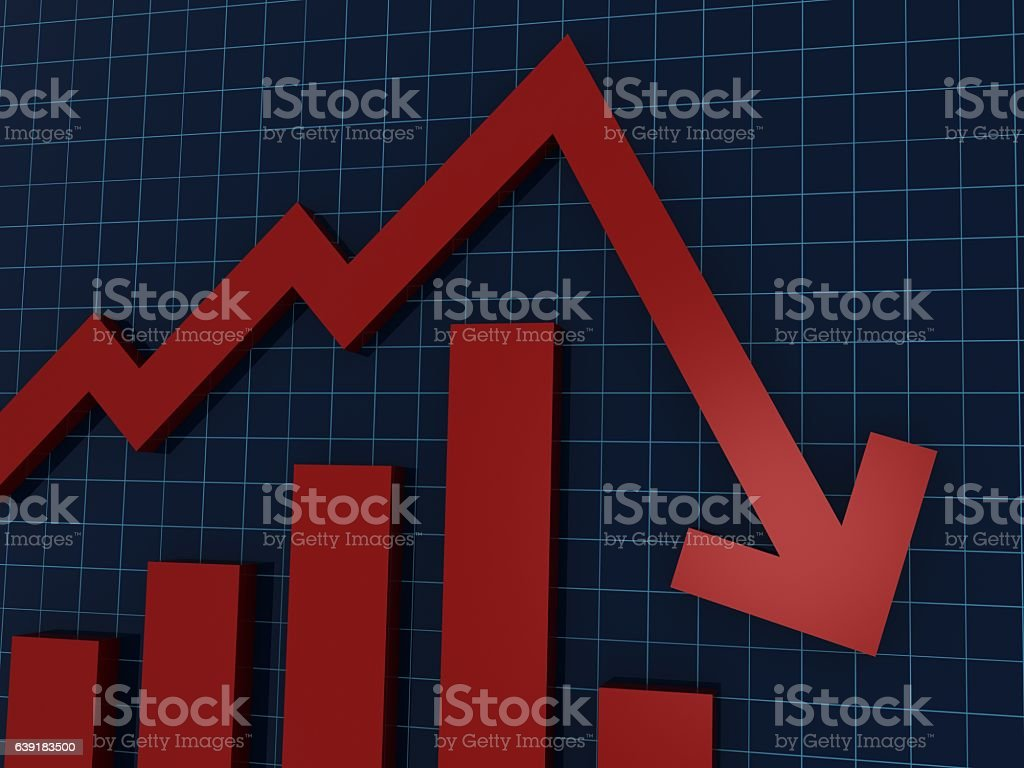 Down chart graph on computer monitor concept stock photo