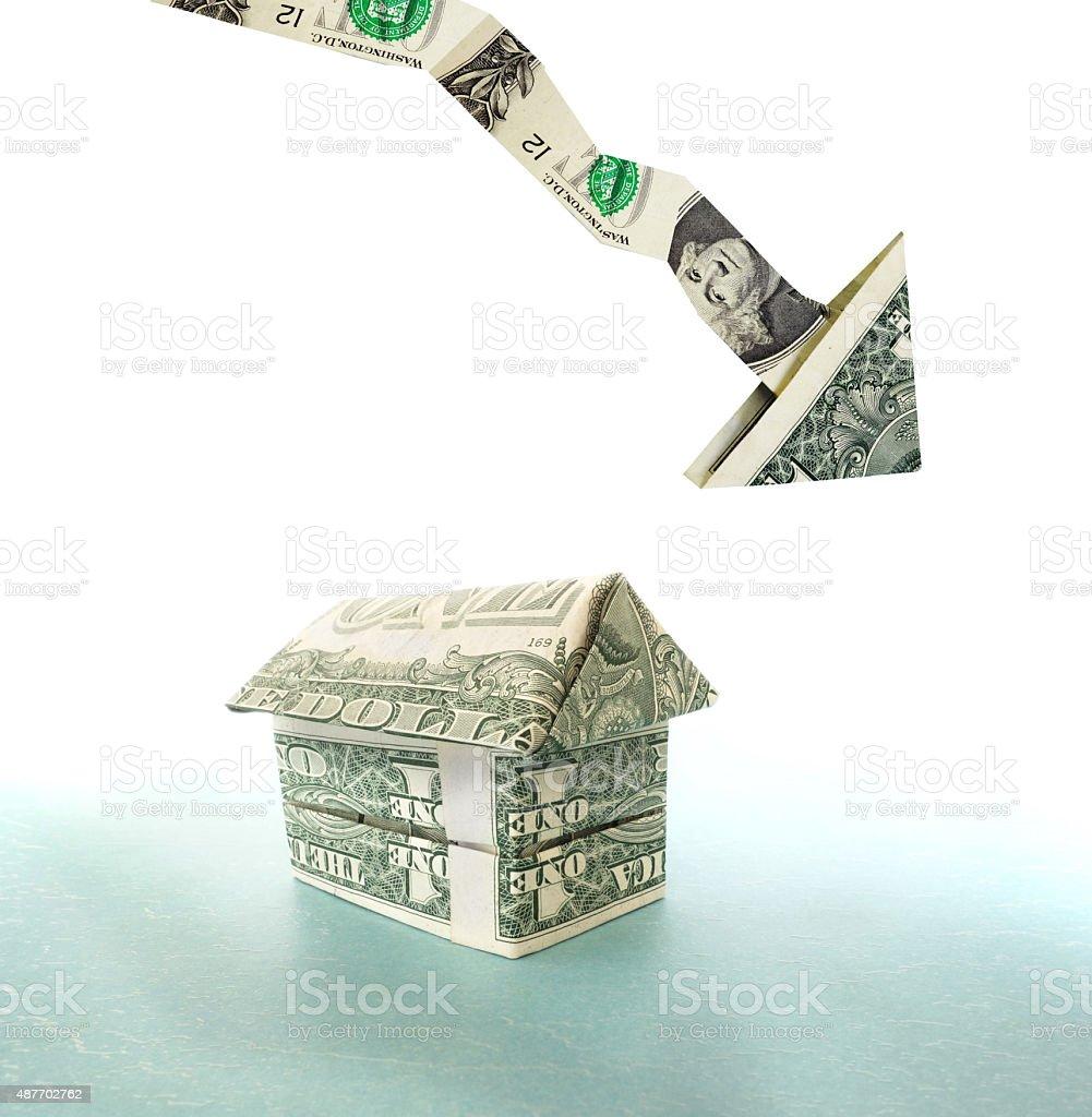 down dollar house stock photo