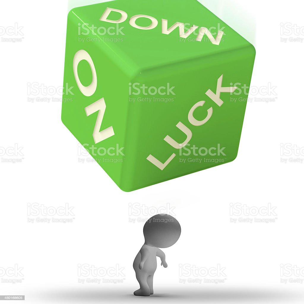 Down On Luck Dice Means Failure And Losing royalty-free stock photo
