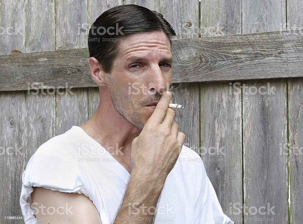 Down & Out Smoker stock photo