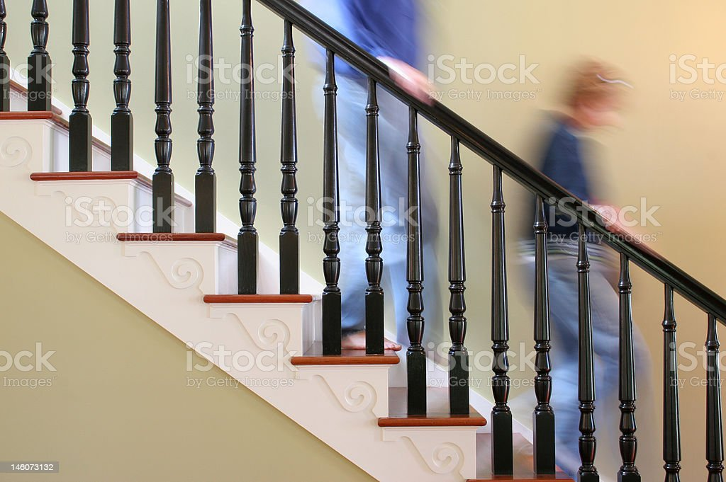 Down stairs in a hurry stock photo