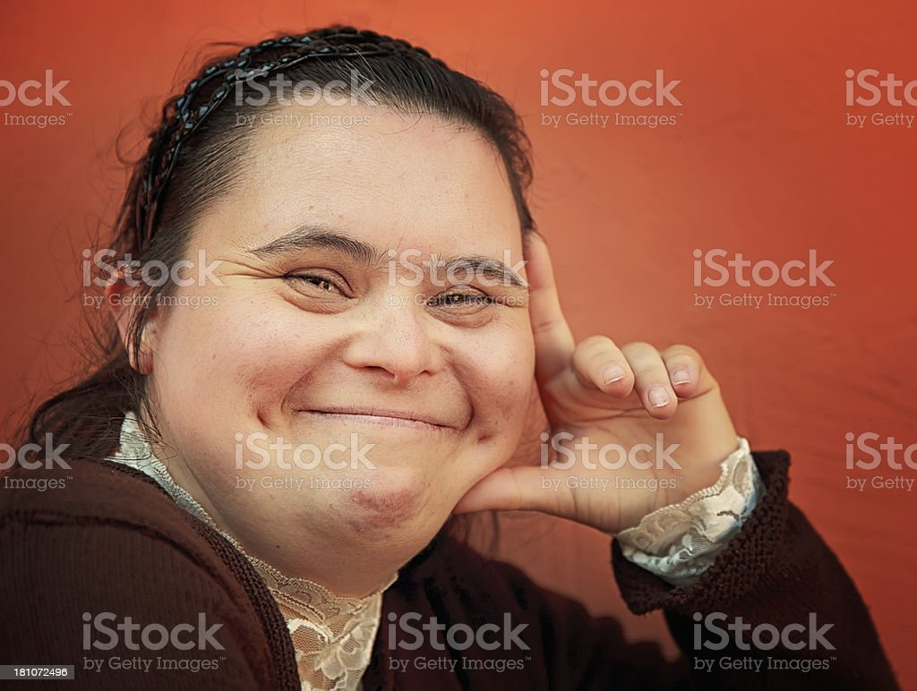Down Syndrome Girl stock photo