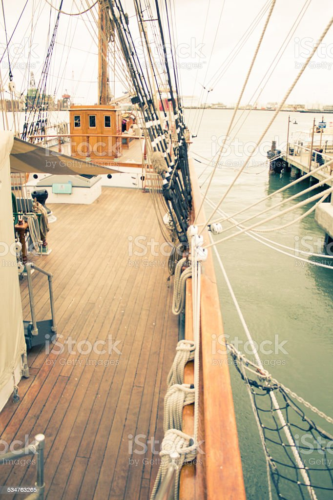 Down the Rail of the Tall Ship Elissa royalty-free stock photo
