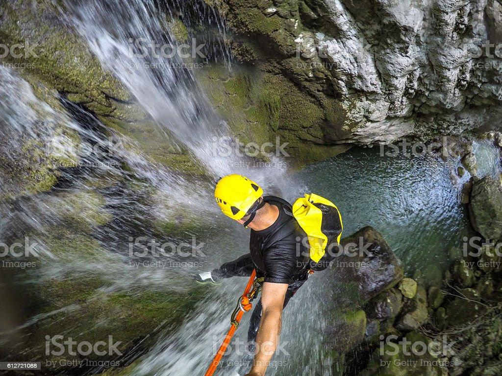 Down the waterfall stock photo
