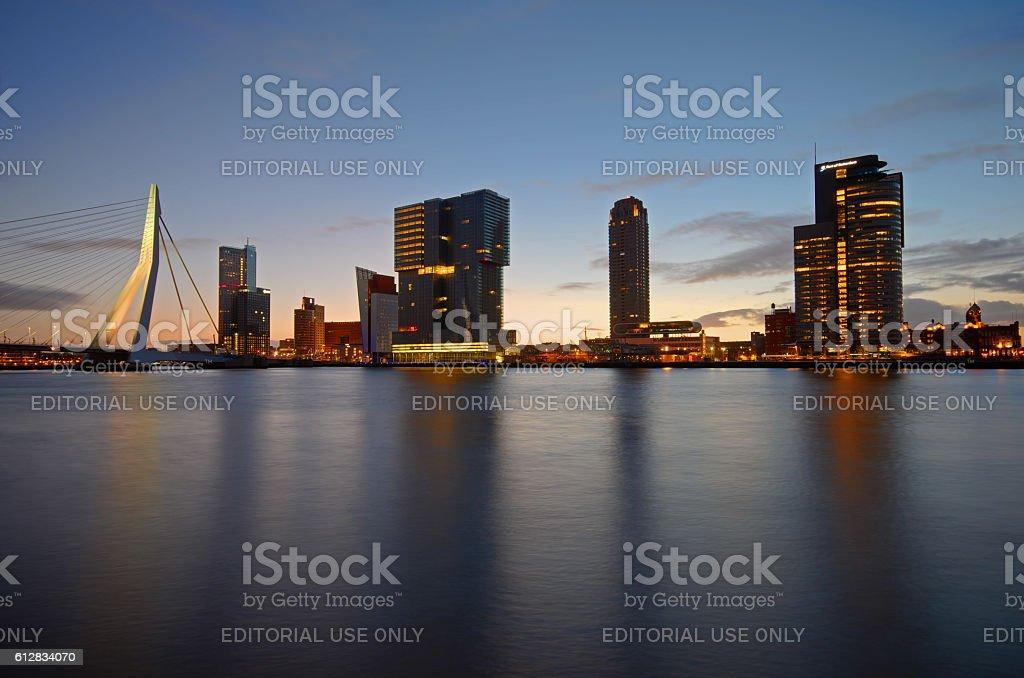 Down town Rotterdam at dawn stock photo