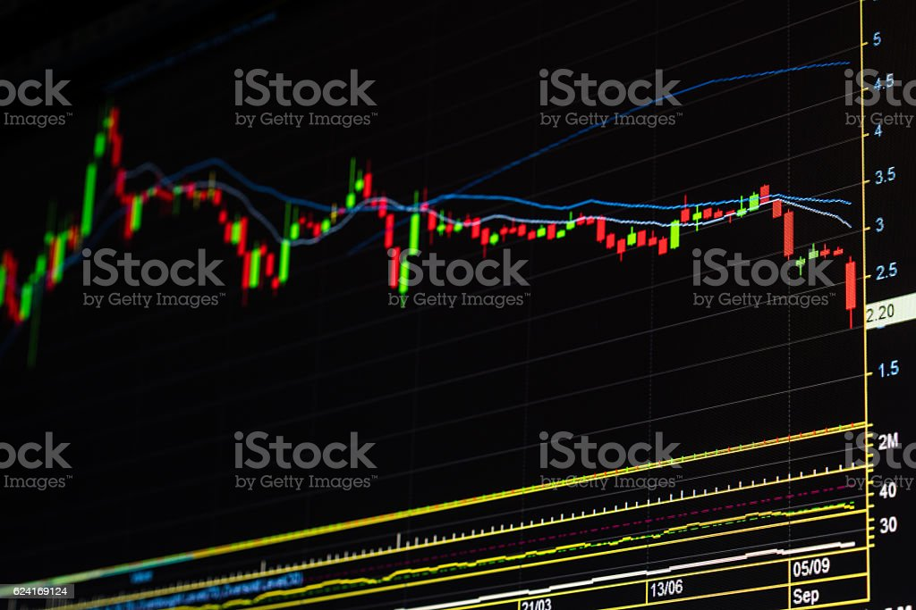 Down trend stock market graph stock photo
