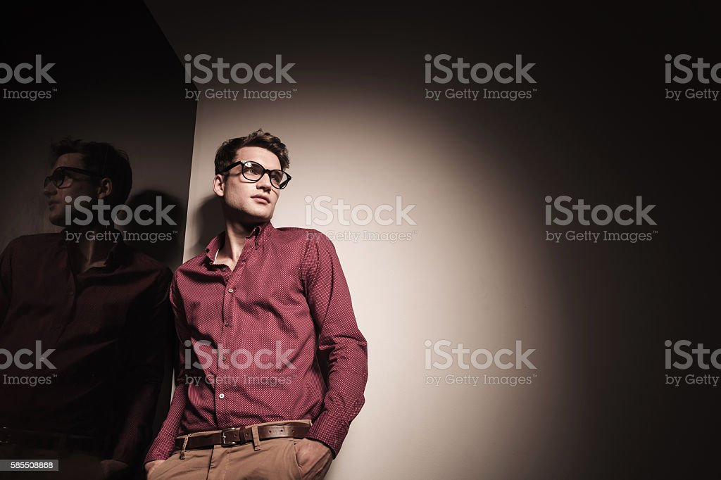 Down view of a young casual business man stock photo
