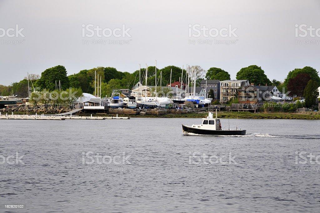 Downeast Fishing Boat Making Way stock photo
