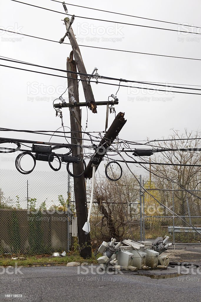 Downed Power Lines stock photo