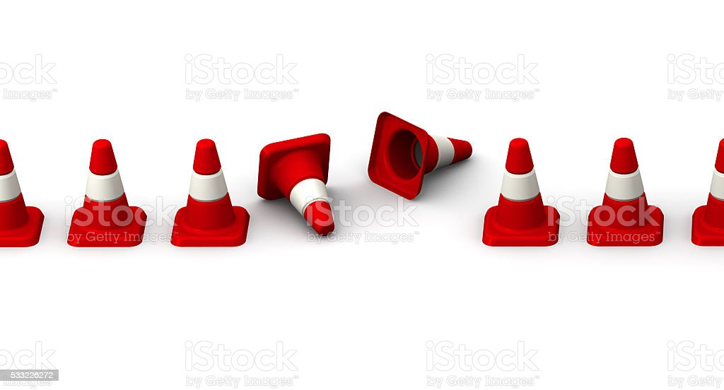 Downed traffic cones stock photo