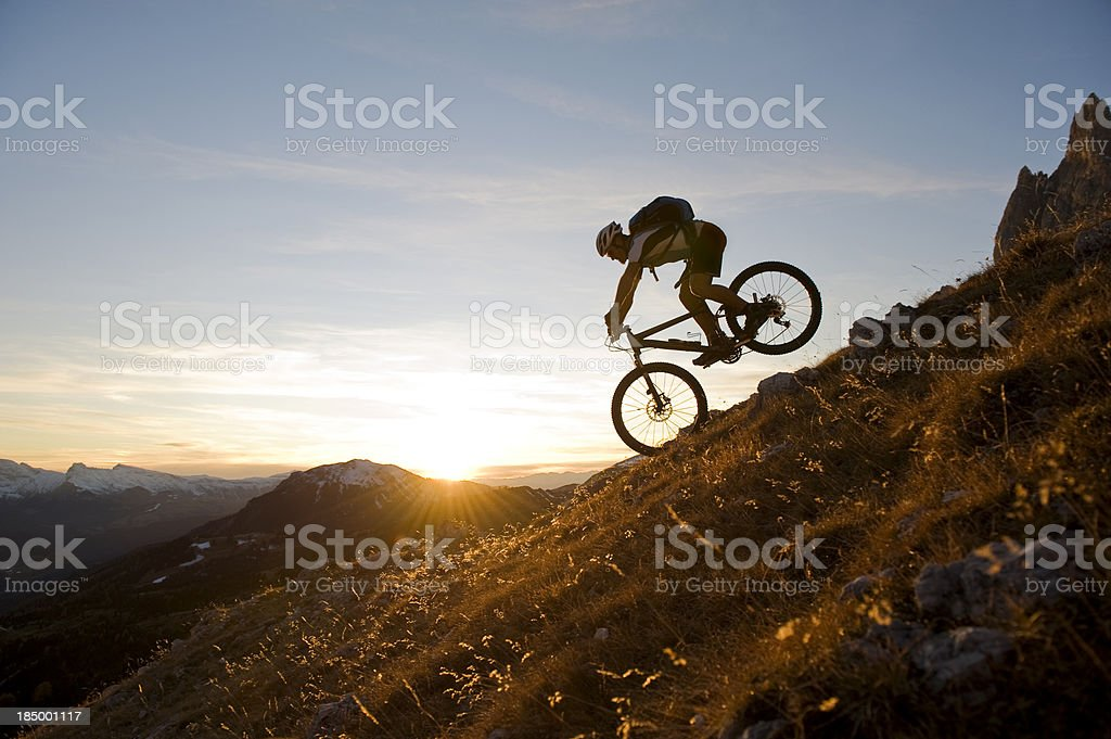 Downhill at super atmospheric stock photo