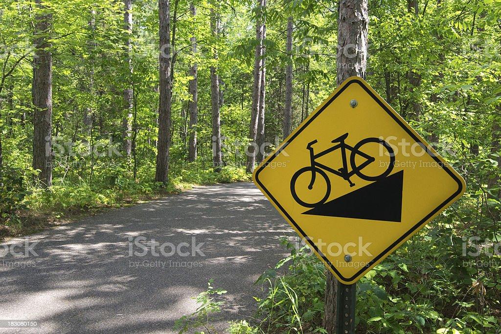 Downhill bike sign, Itasca State Park, Northern Minnesota, USA stock photo