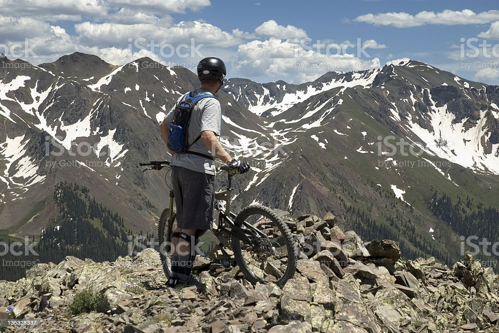 Downhill Biker Enjoys View royalty-free stock photo