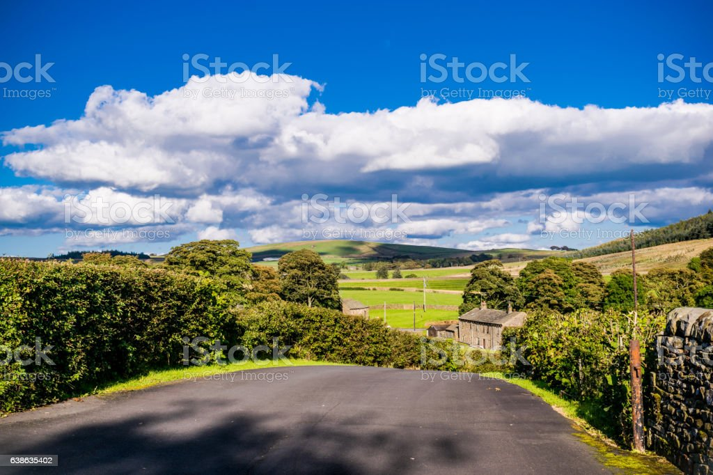 Downhill Countryside Road stock photo