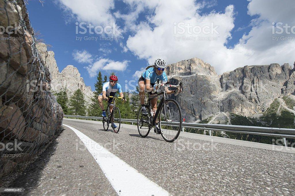Downhill cycling road stock photo