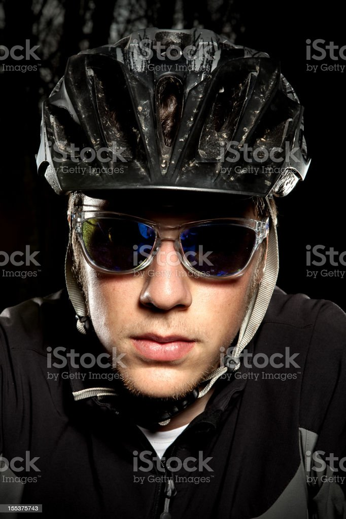 Downhill enduro mountain bike biker portrait in the woods. royalty-free stock photo