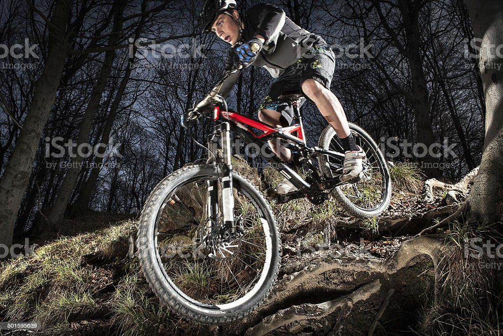 Downhill enduro mountain bike jump in the woods. stock photo