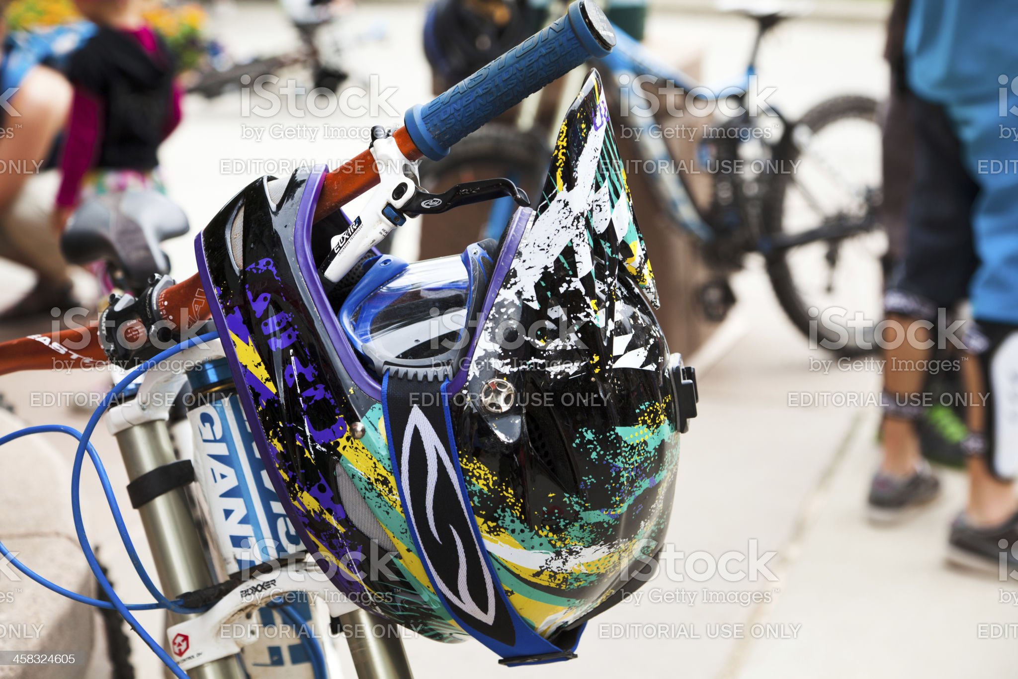 Downhill mountain bike and helmet close up royalty-free stock photo