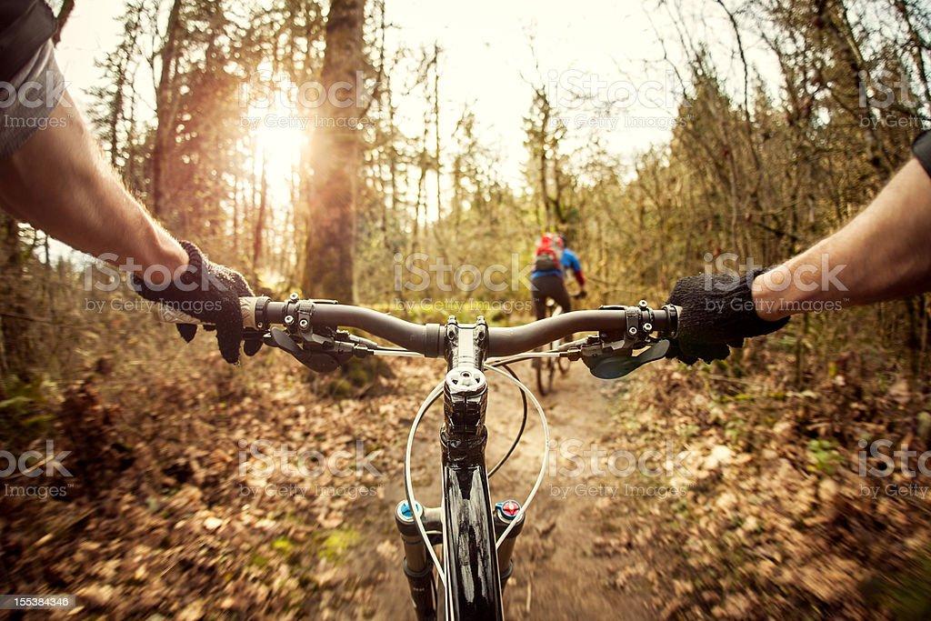 Downhill Mountain Bike Ride stock photo