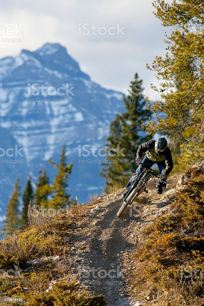 Downhill Mountain Bike Rider stock photo