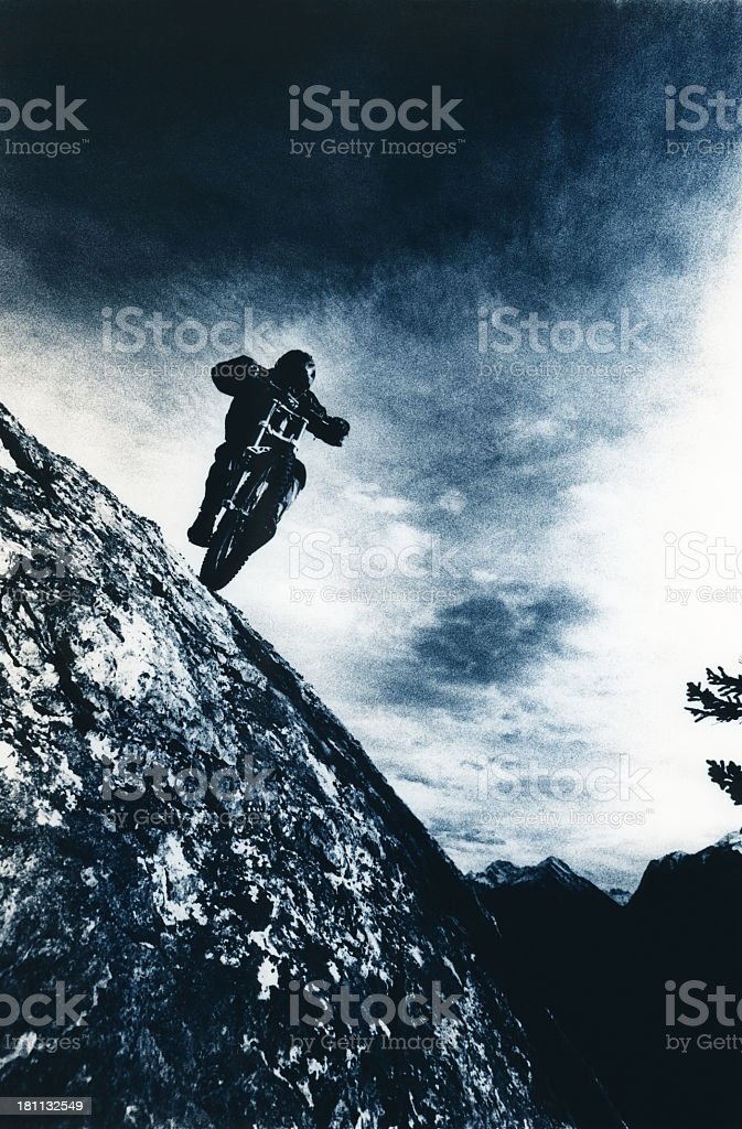 Downhill Mountain Biker stock photo