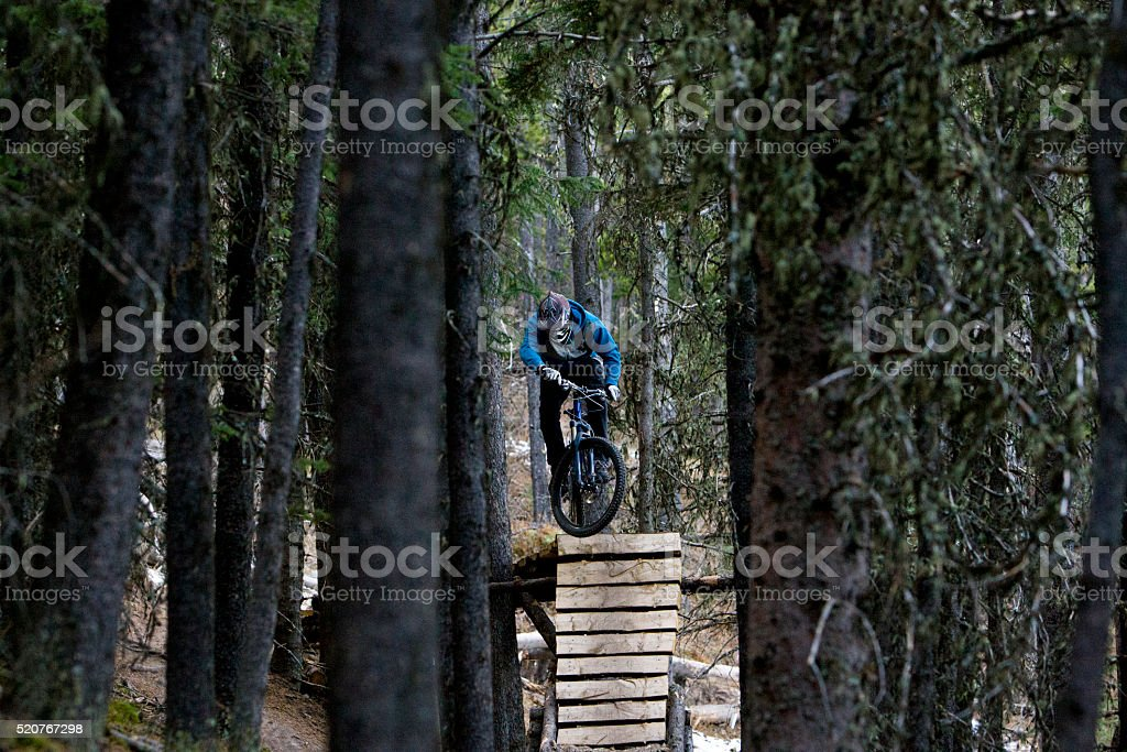 Downhill Mountain Biker stock photo