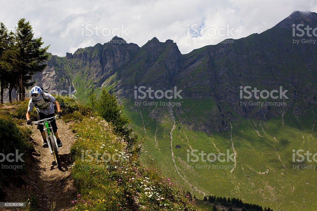 Downhill Mountain Biking in Switzerland stock photo