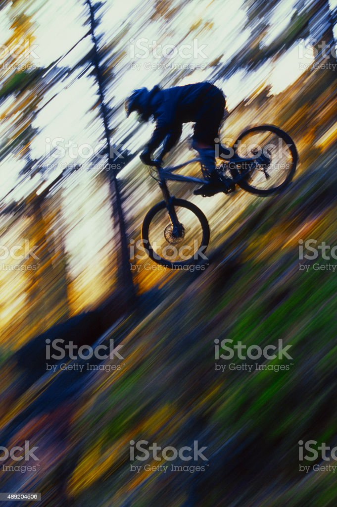 Downhill Mountain Biking stock photo