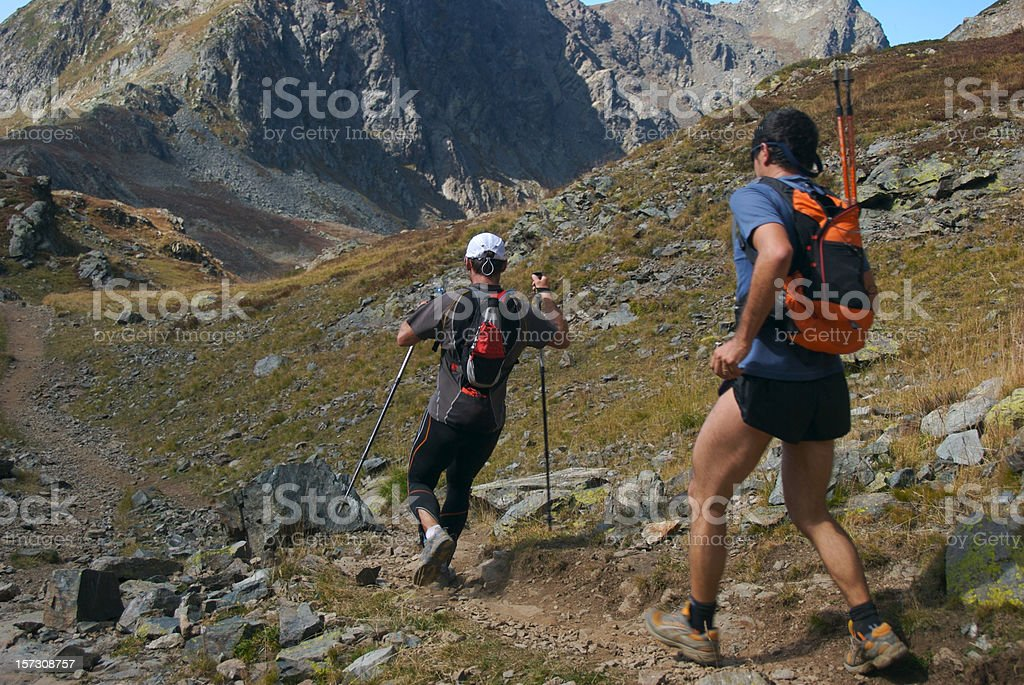 Downhill runners royalty-free stock photo